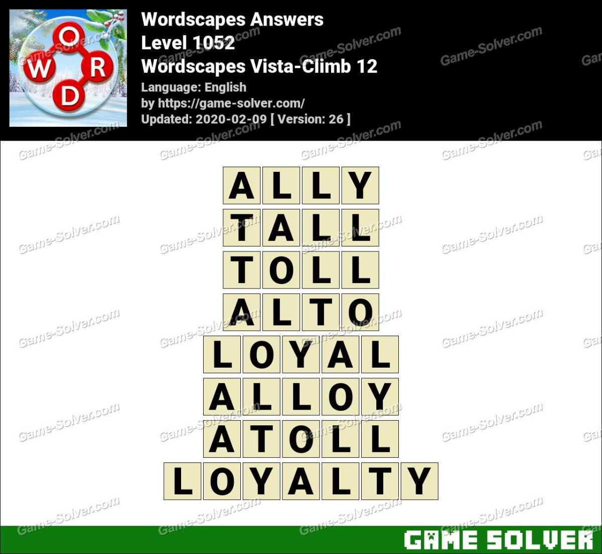 Wordscapes Vista-Climb 12 Answers
