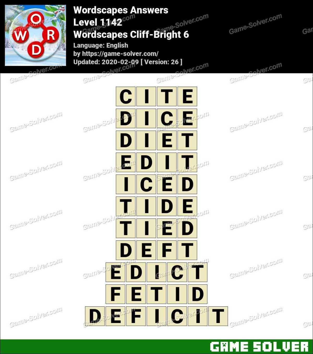 Wordscapes Cliff-Bright 6 Answers