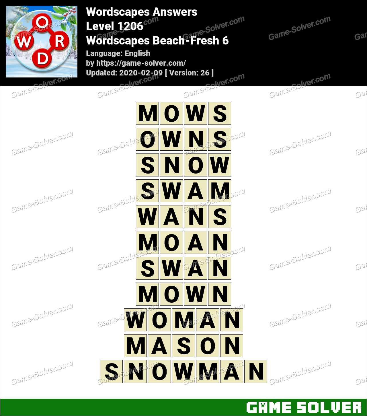 Wordscapes Beach-Fresh 6 Answers