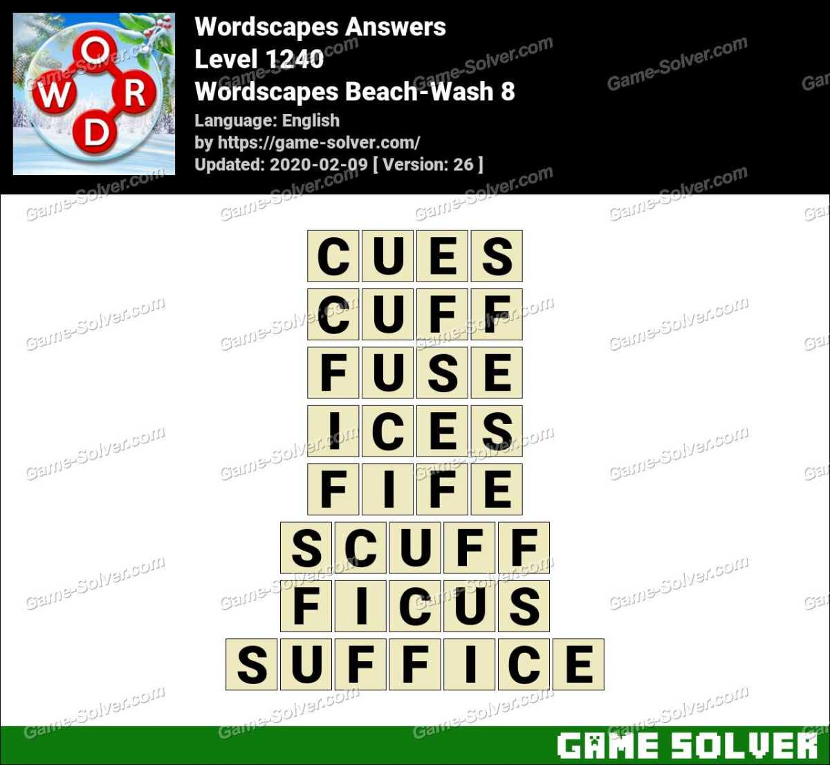 Wordscapes Beach-Wash 8 Answers