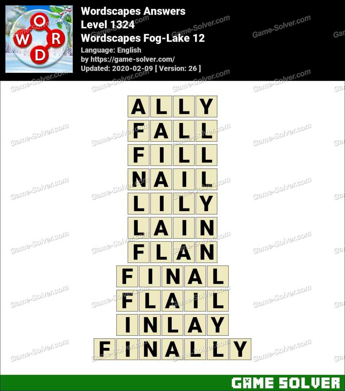 Wordscapes Fog-Lake 12 Answers