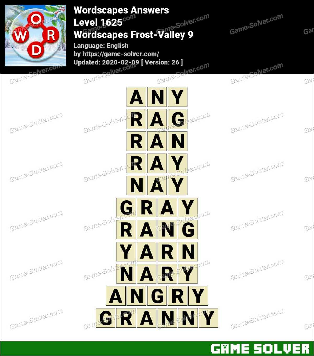 Wordscapes Frost-Valley 9 Answers