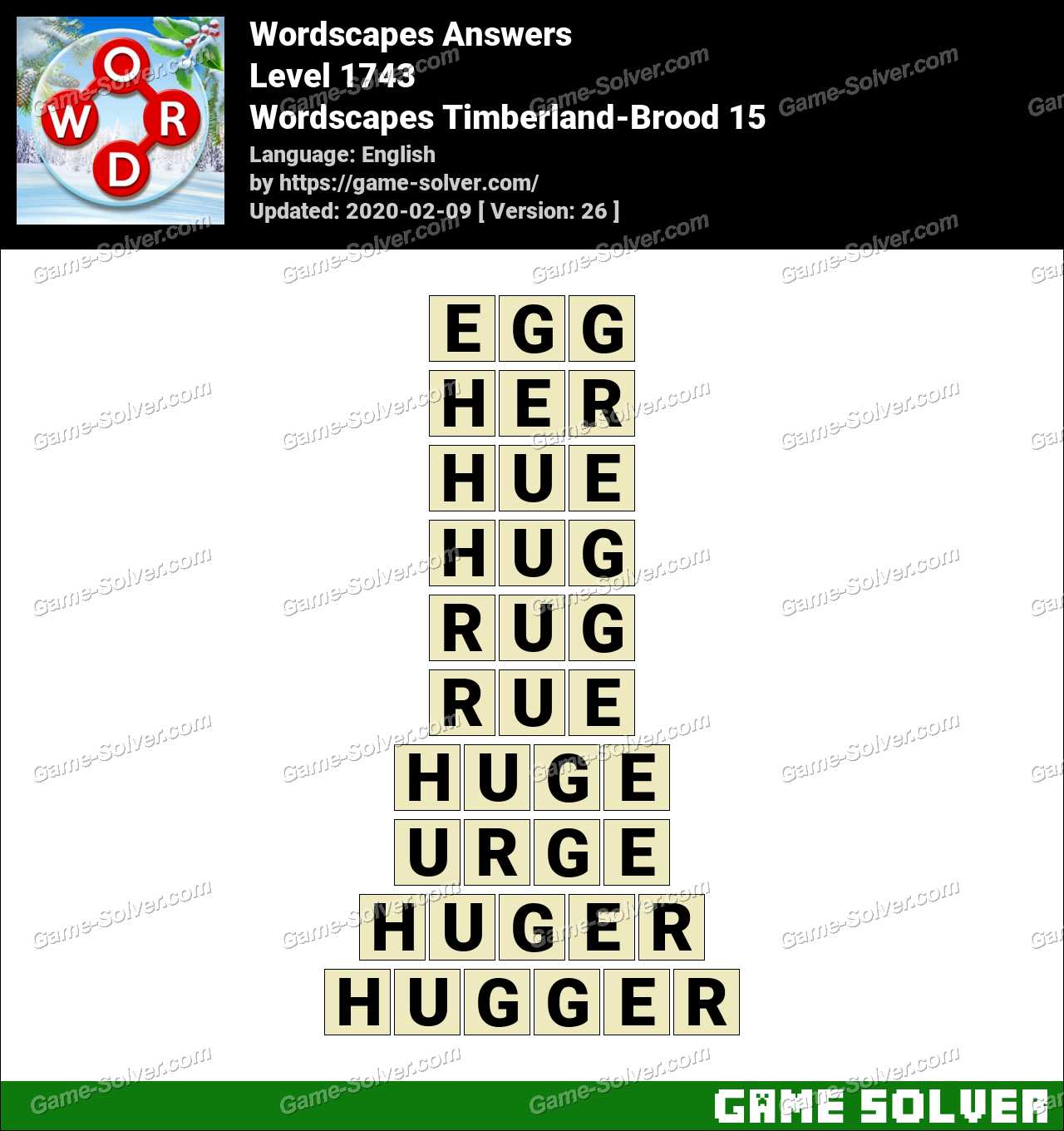 Wordscapes Timberland-Brood 15 Answers