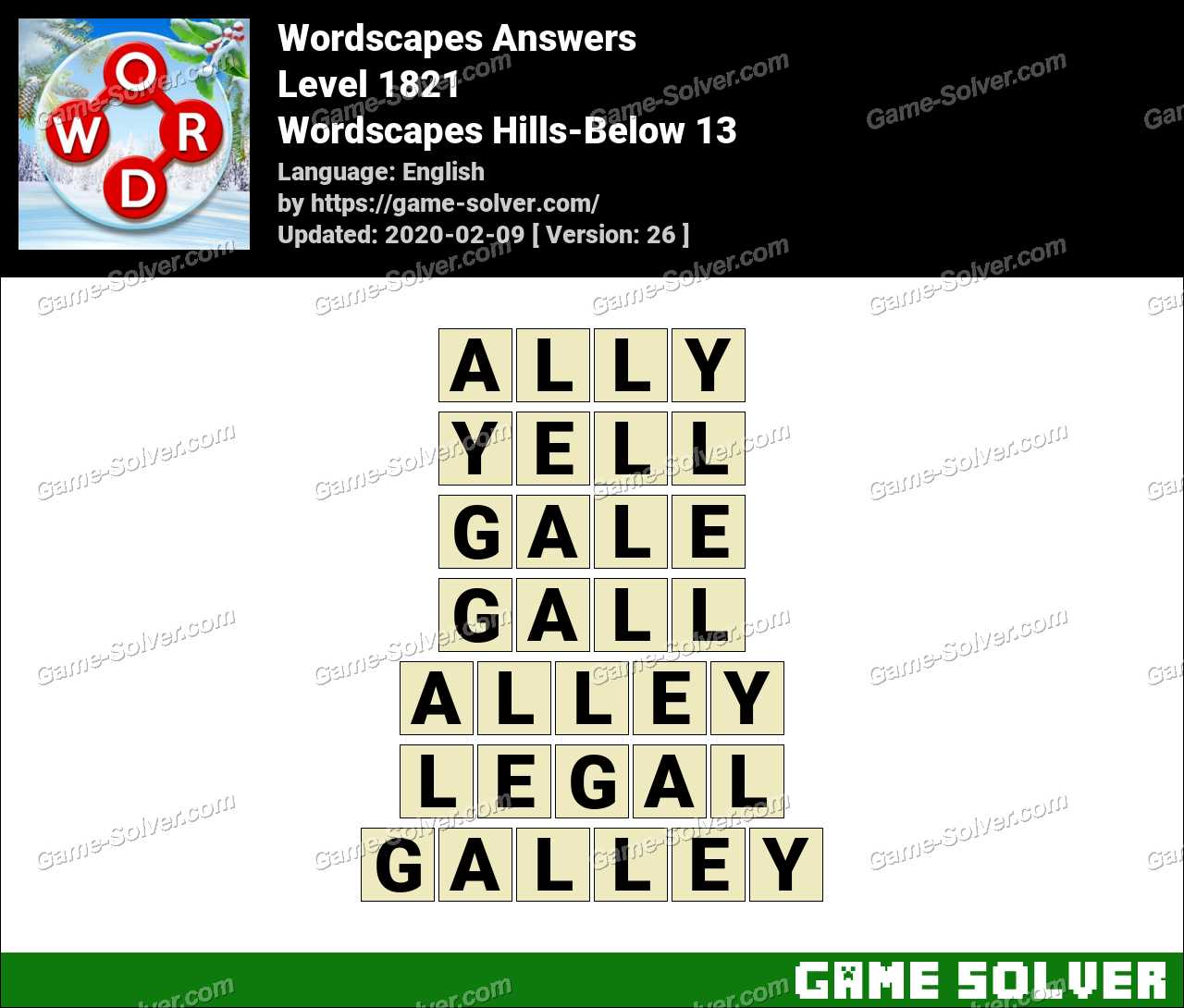 Wordscapes Hills-Below 13 Answers