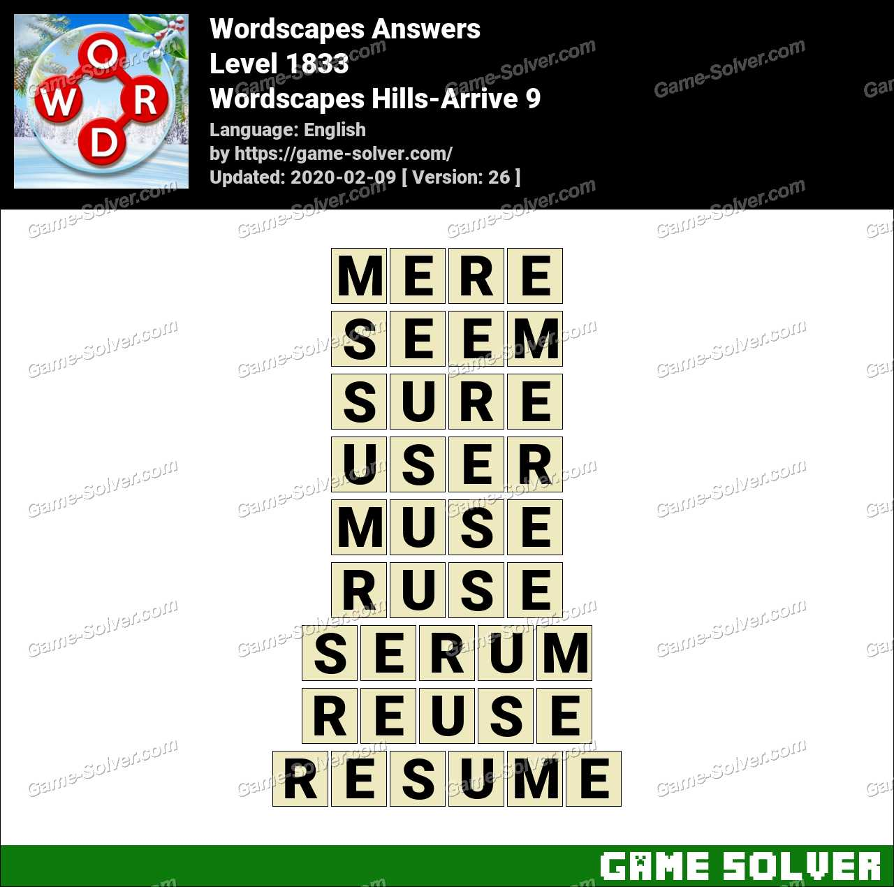 Wordscapes Hills-Arrive 9 Answers