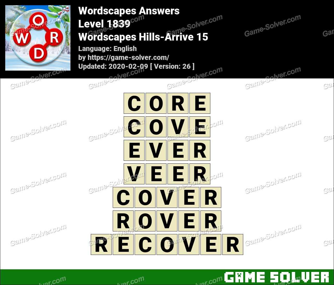 Wordscapes Hills-Arrive 15 Answers