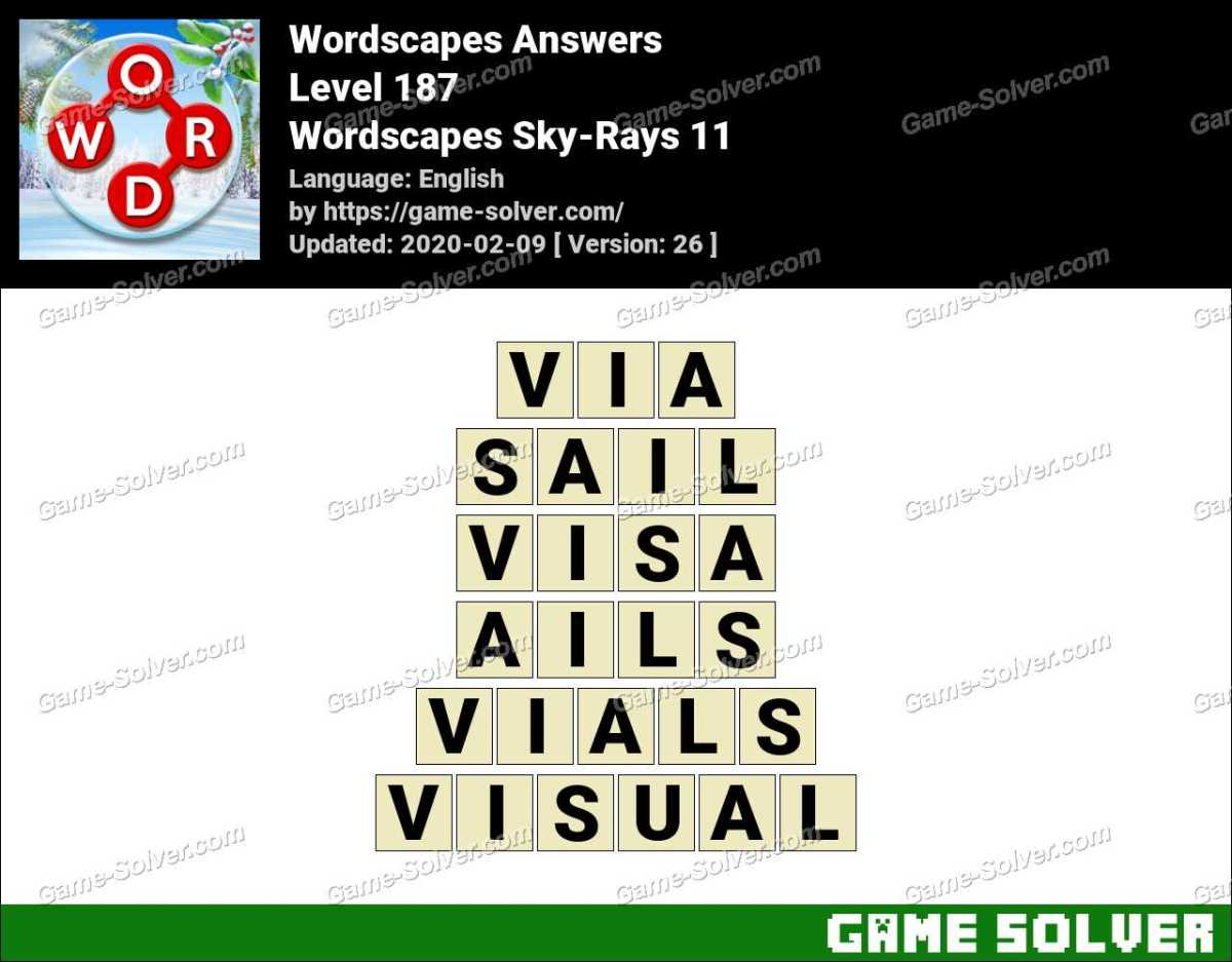 Wordscapes Sky-Rays 11 Answers