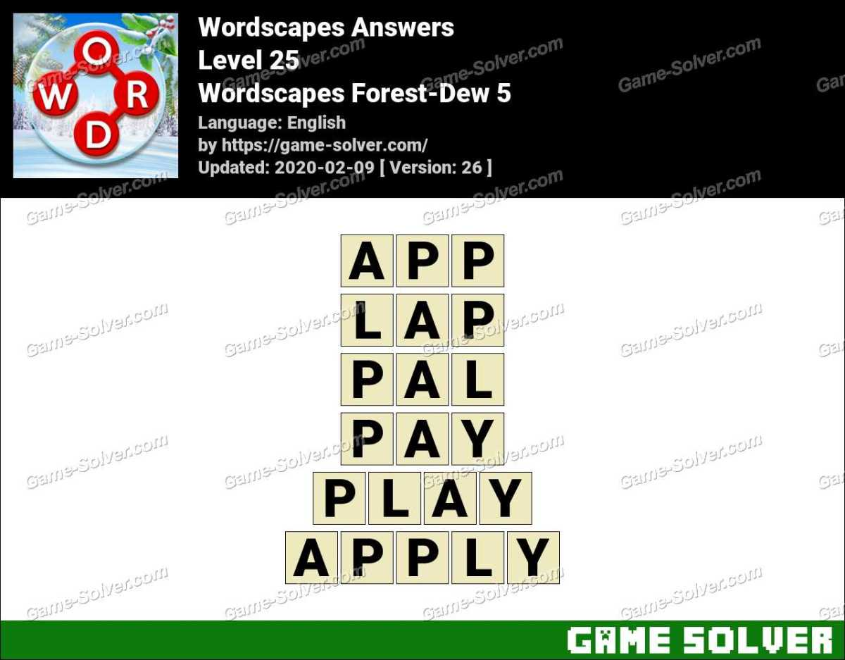 Wordscapes Forest-Dew 5 Answers