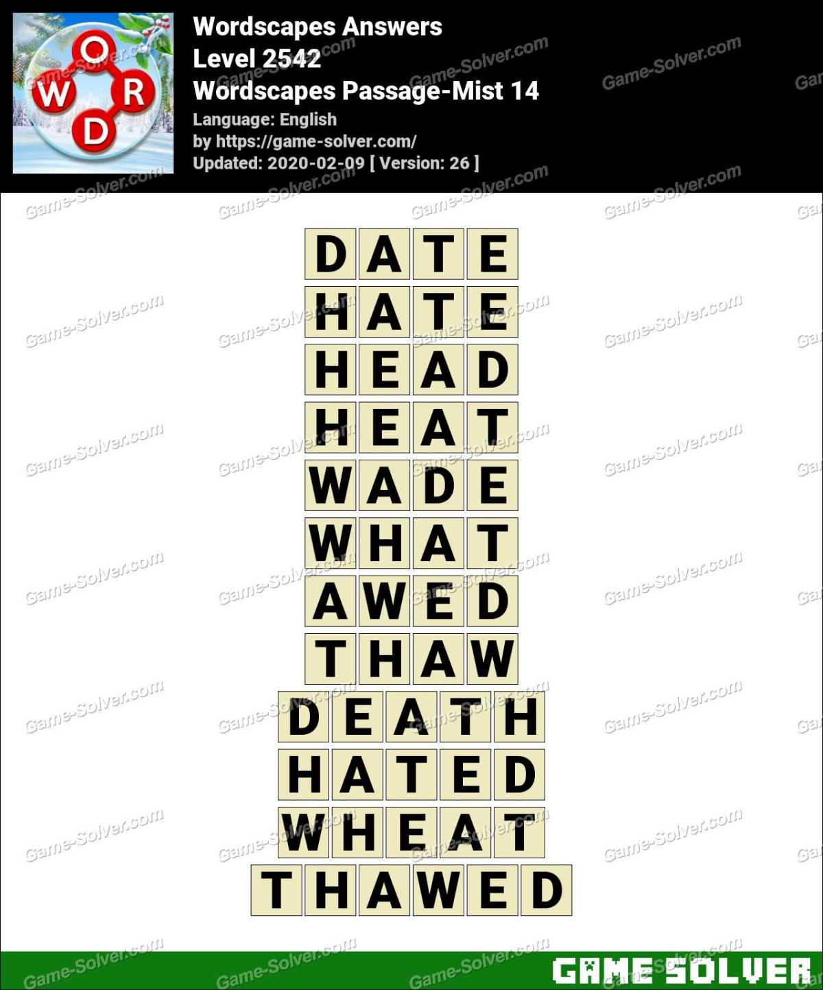 Wordscapes Passage-Mist 14 Answers