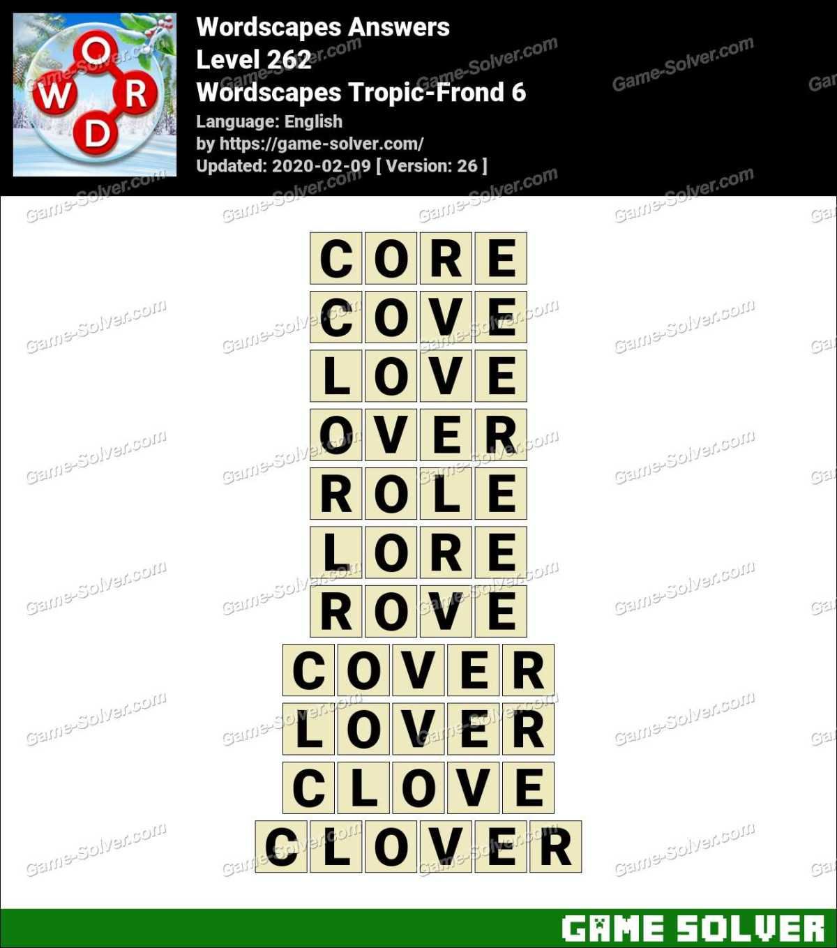 Wordscapes Tropic-Frond 6 Answers