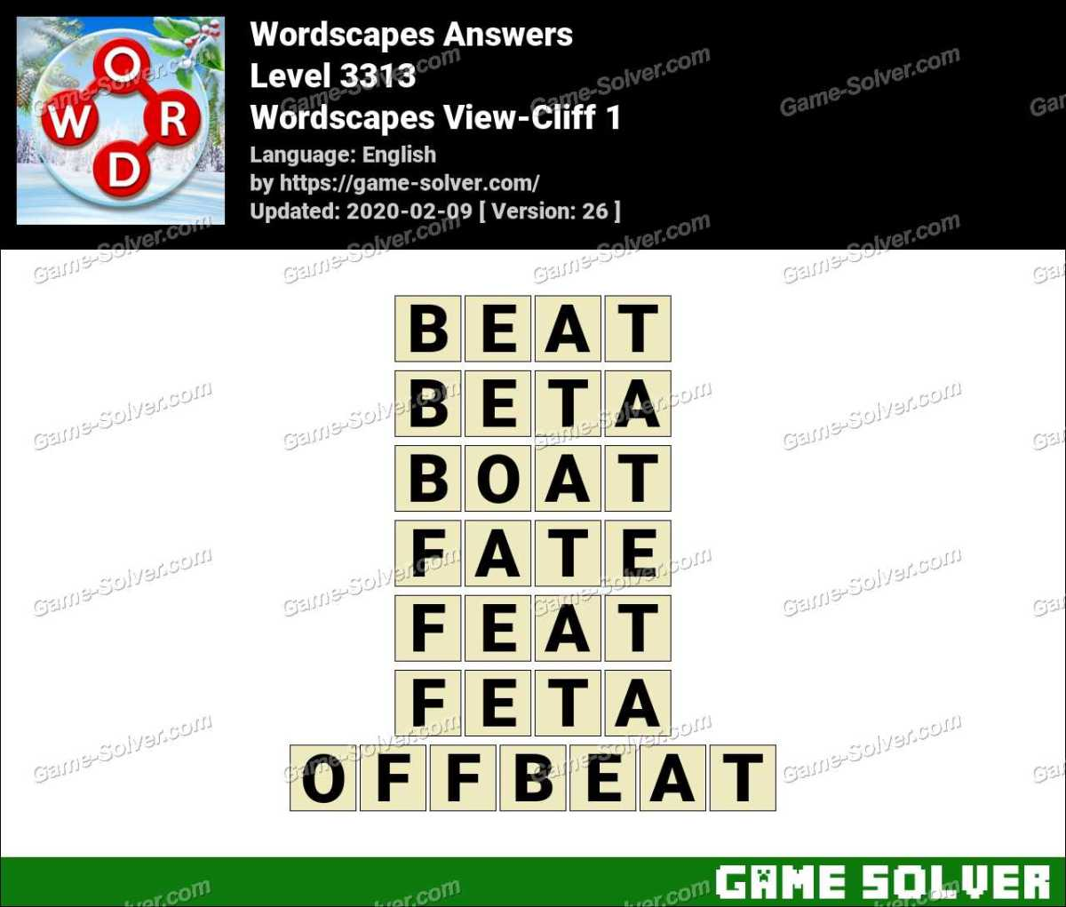 Wordscapes View-Cliff 1 Answers