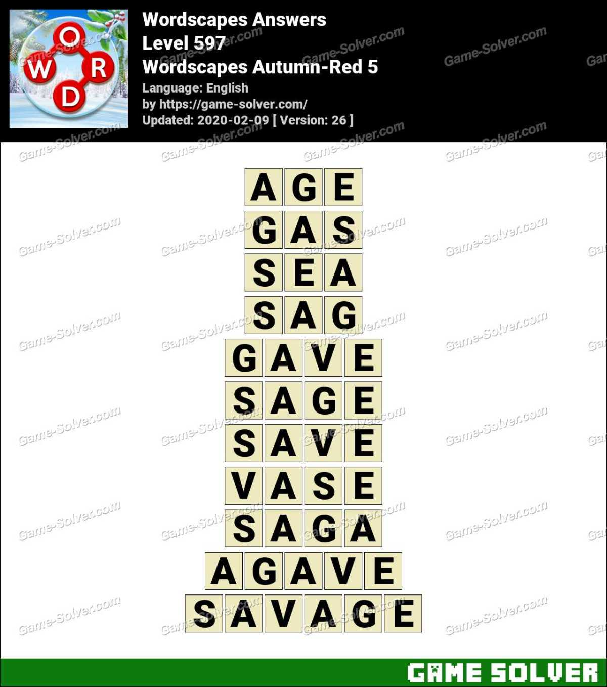 Wordscapes Autumn-Red 5 Answers