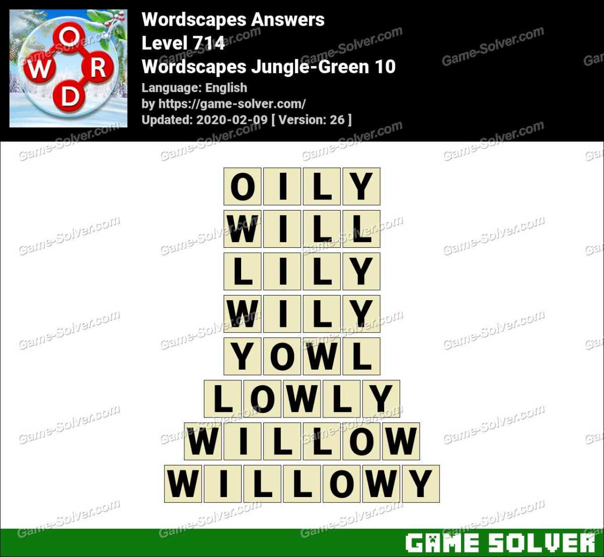 Wordscapes Jungle-Green 10 Answers