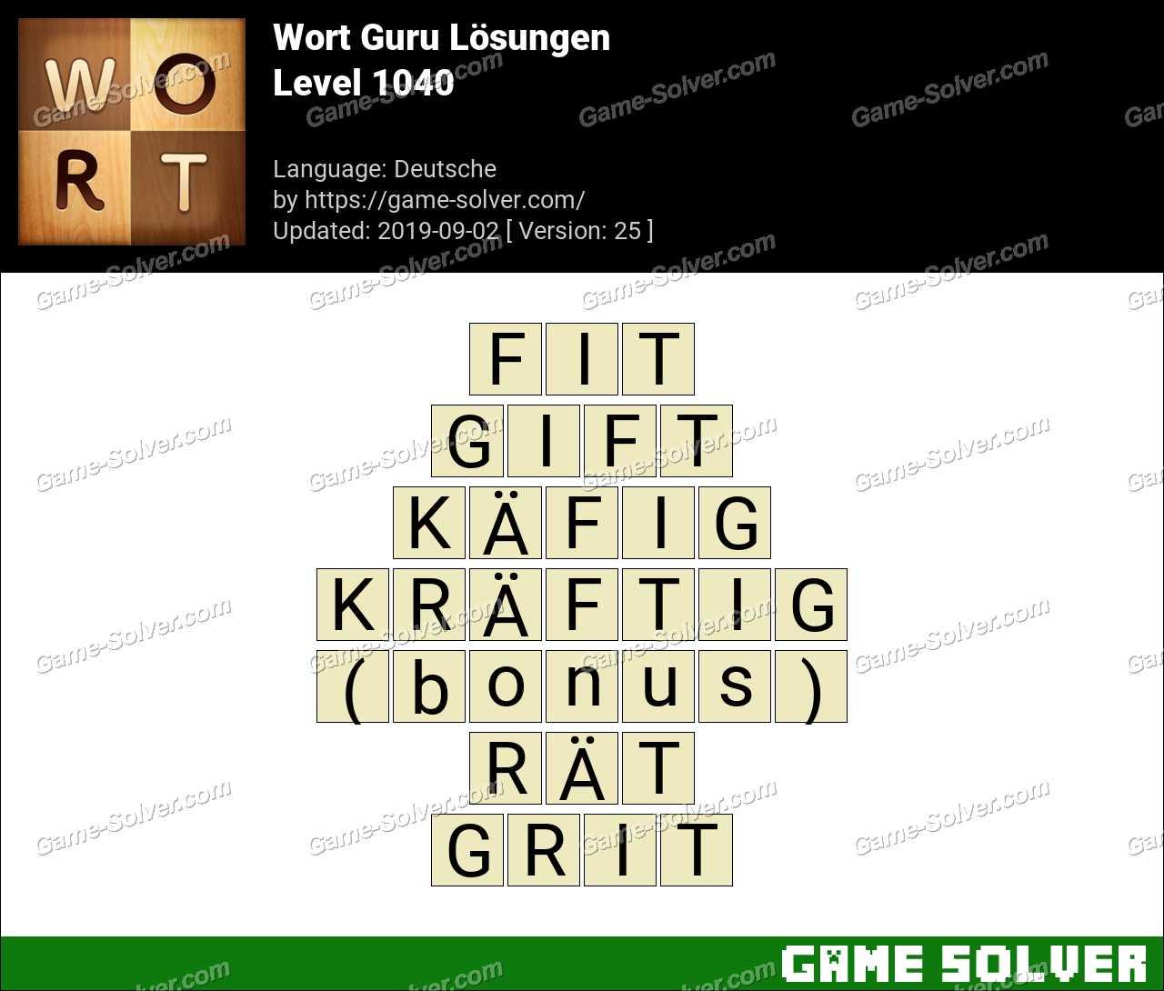 Wort Guru Level 1040 Lösungen