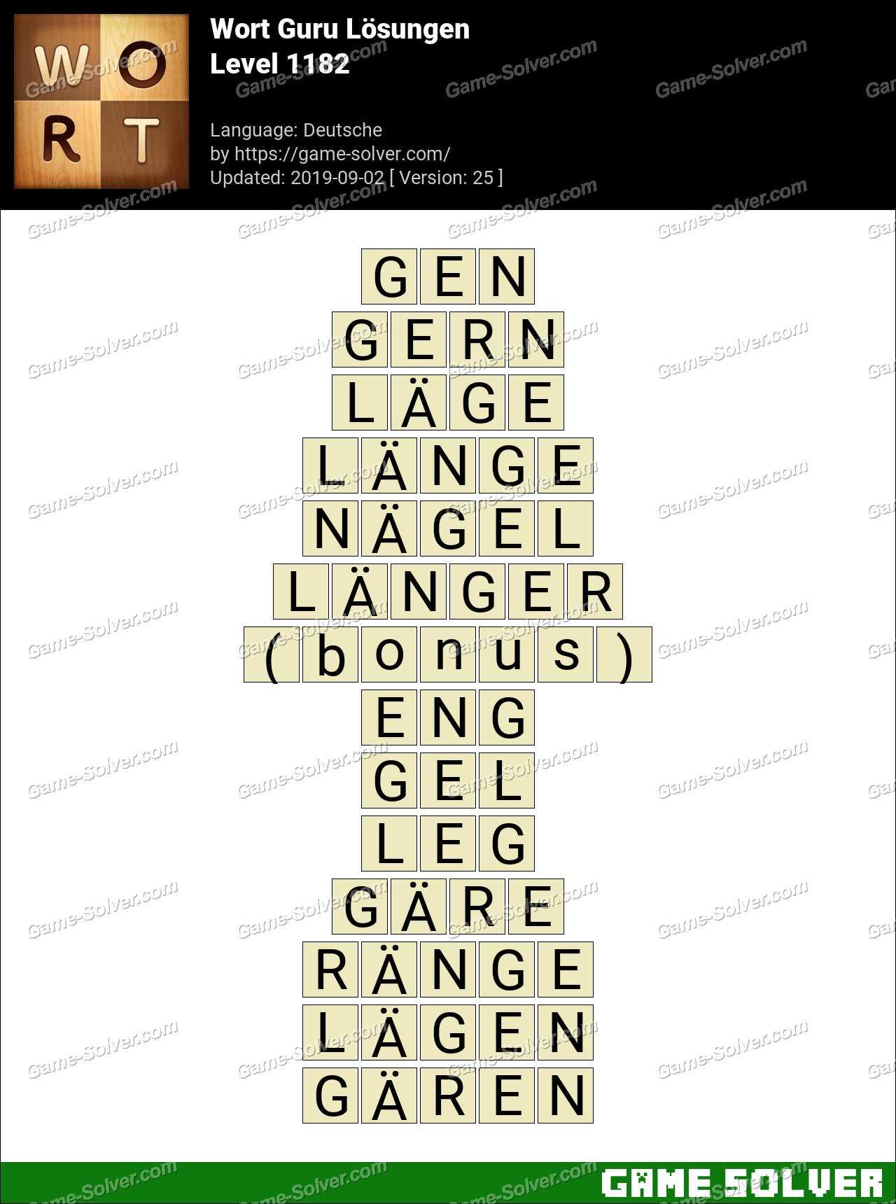 Wort Guru Level 1182 Lösungen