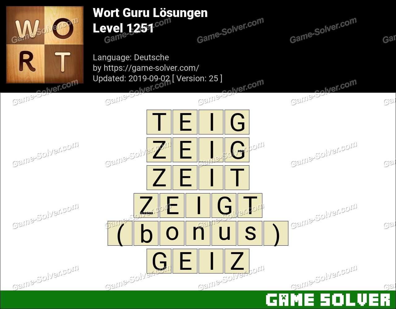 Wort Guru Level 1251 Lösungen