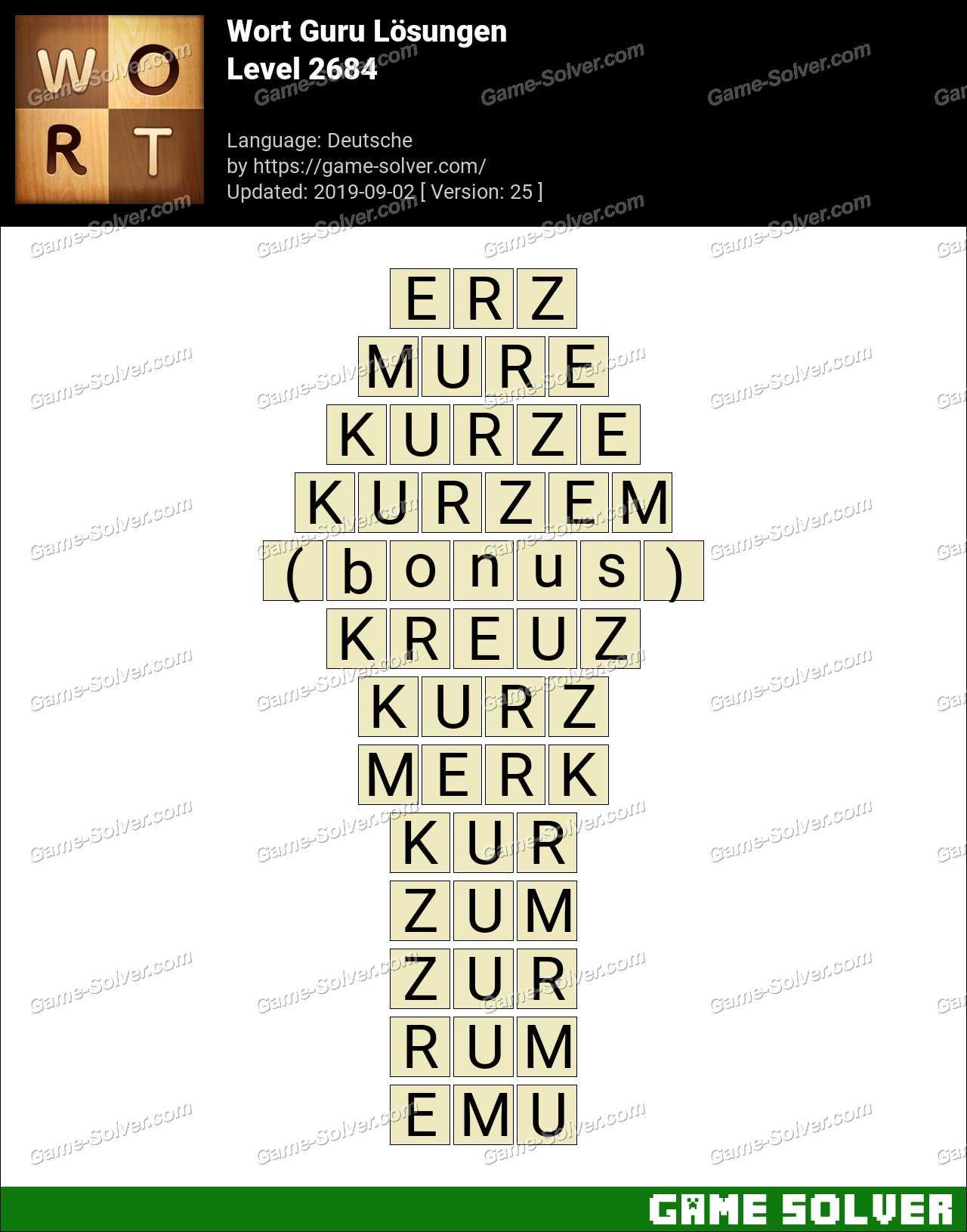 Wort Guru Level 2684 Lösungen