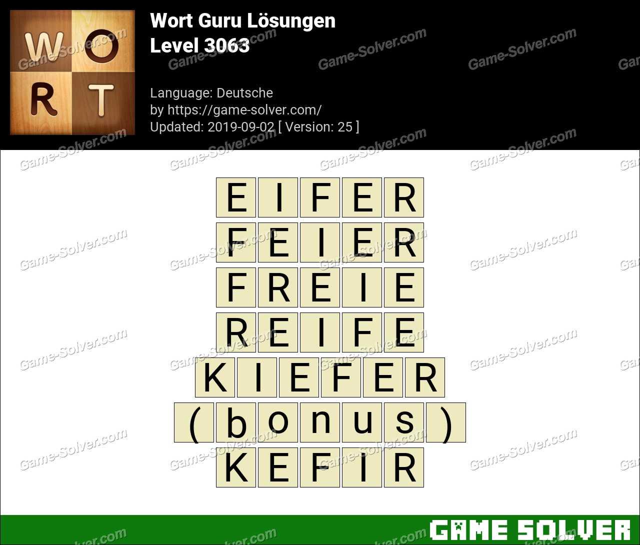 Wort Guru Level 3063 Lösungen