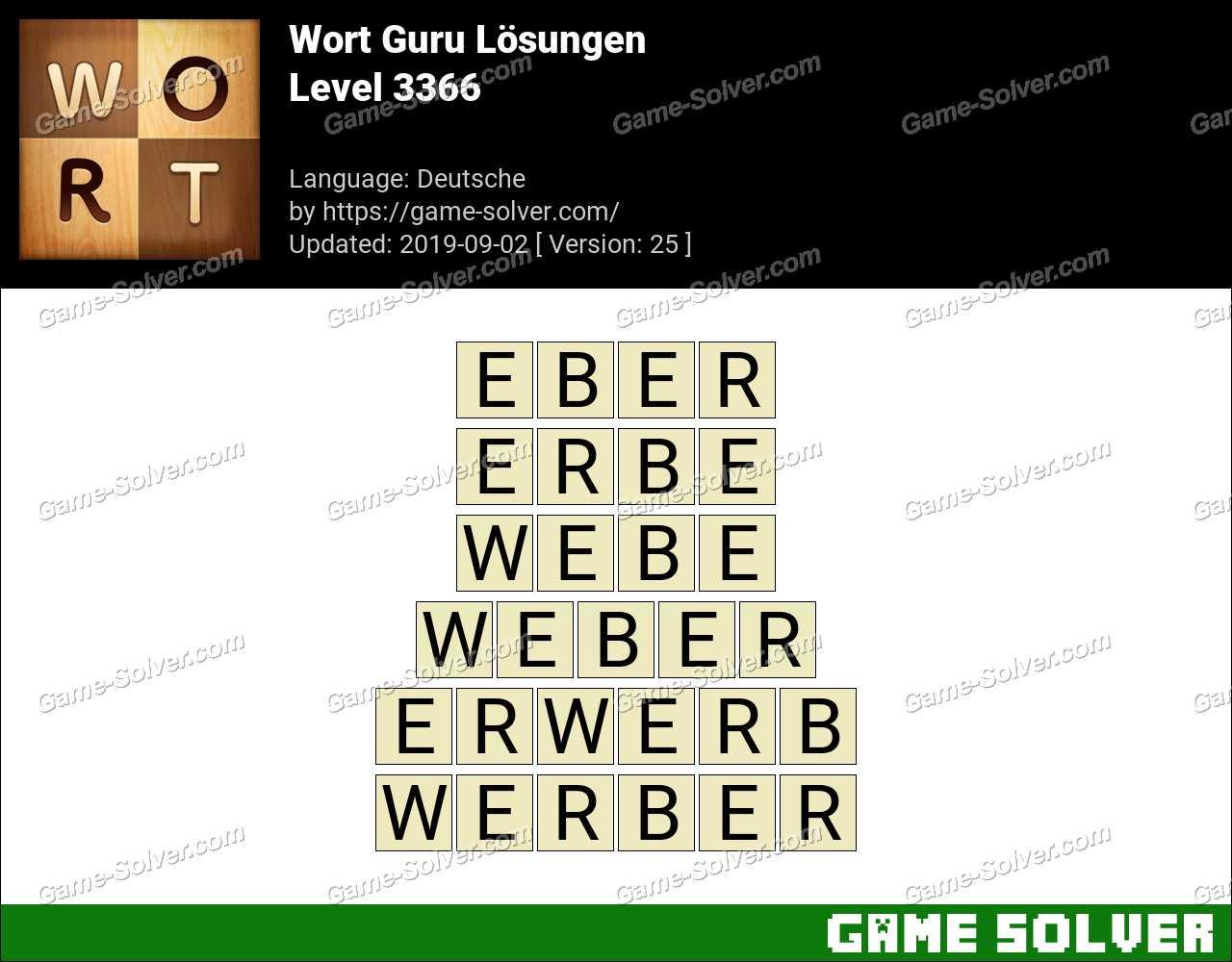 Wort Guru Level 3366 Lösungen
