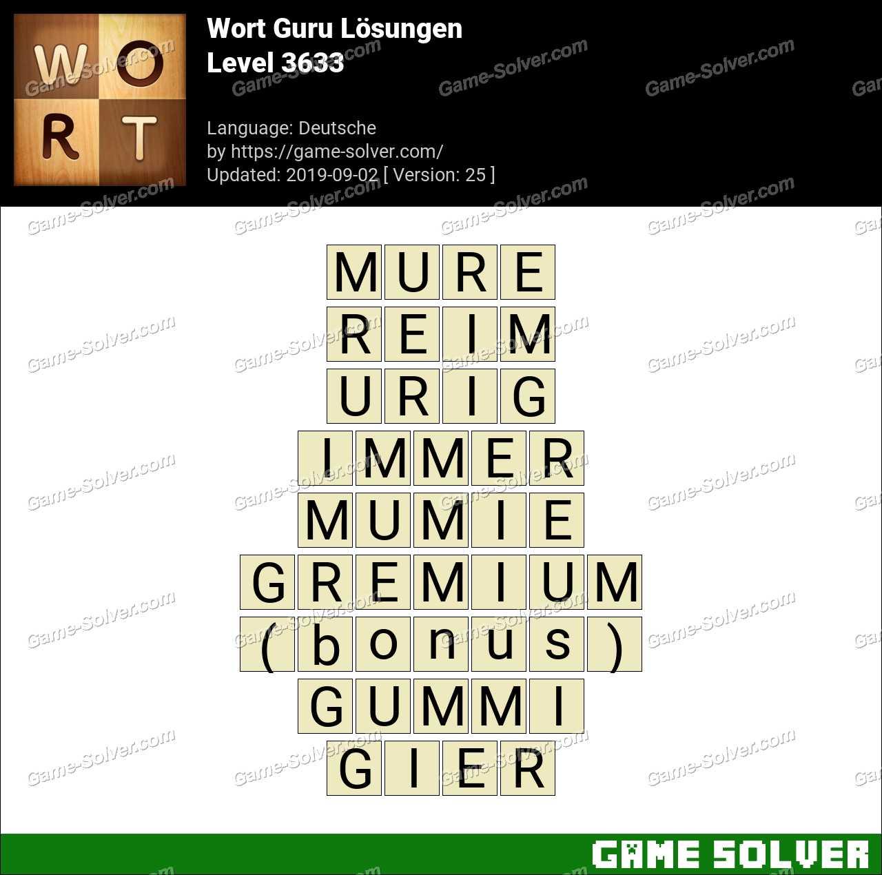 Wort Guru Level 3633 Lösungen