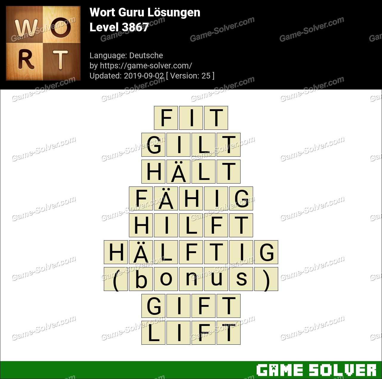 Wort Guru Level 3867 Lösungen