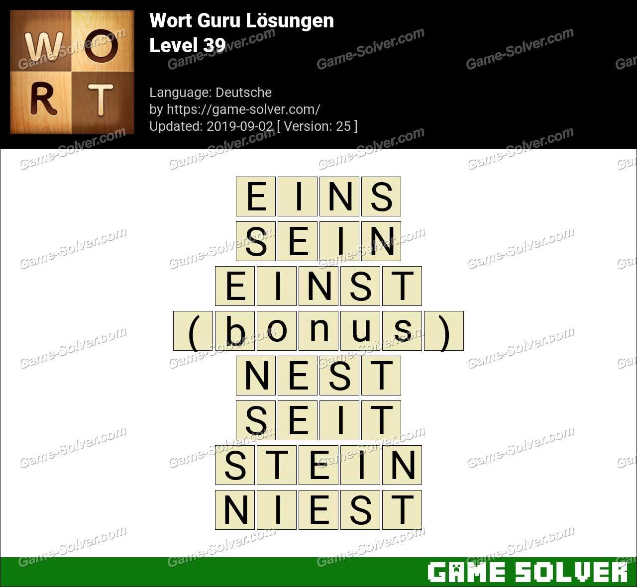 Wort Guru Level 39 Lösungen