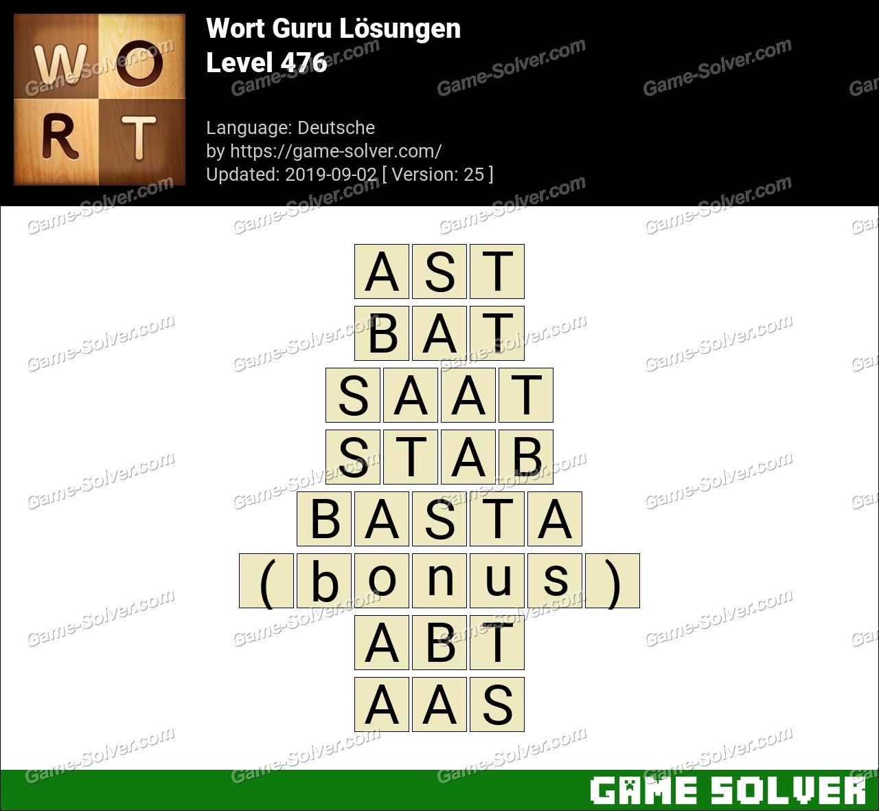 Wort Guru Level 476 Lösungen