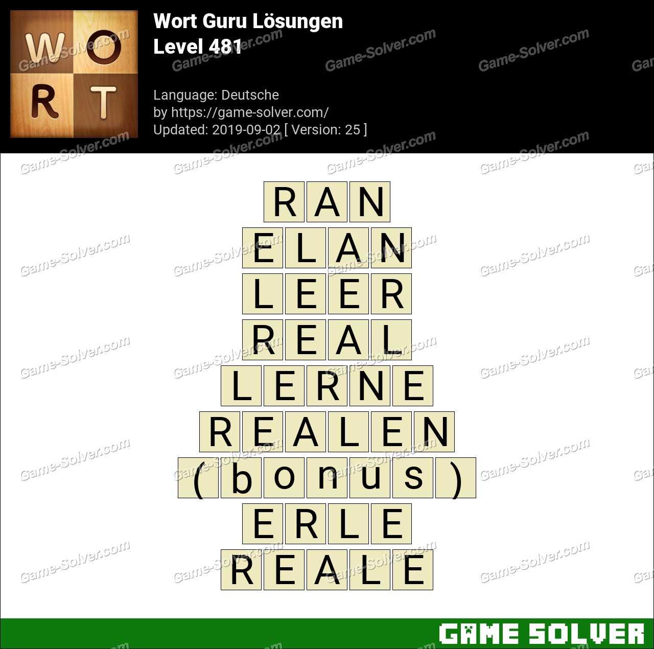 Wort Guru Level 481 Lösungen