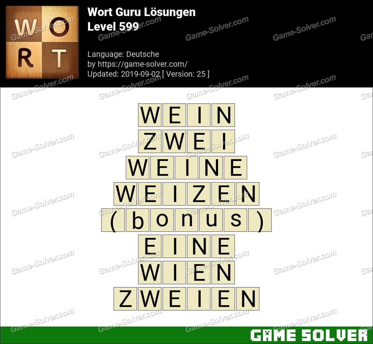 Wort Guru Level 599 Lösungen