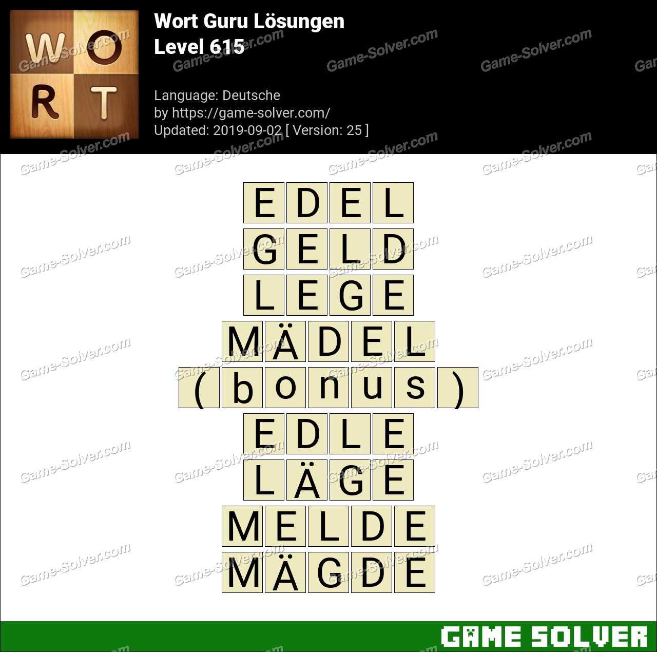 Wort Guru Level 615 Lösungen