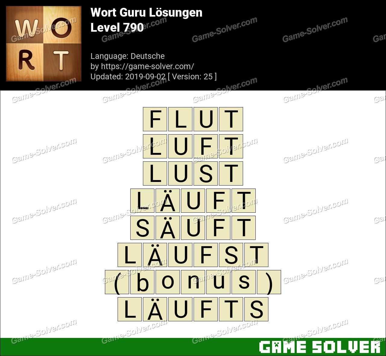 Wort Guru Level 790 Lösungen
