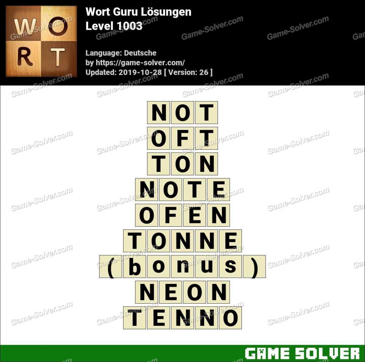 Wort Guru Level 1003 Lösungen