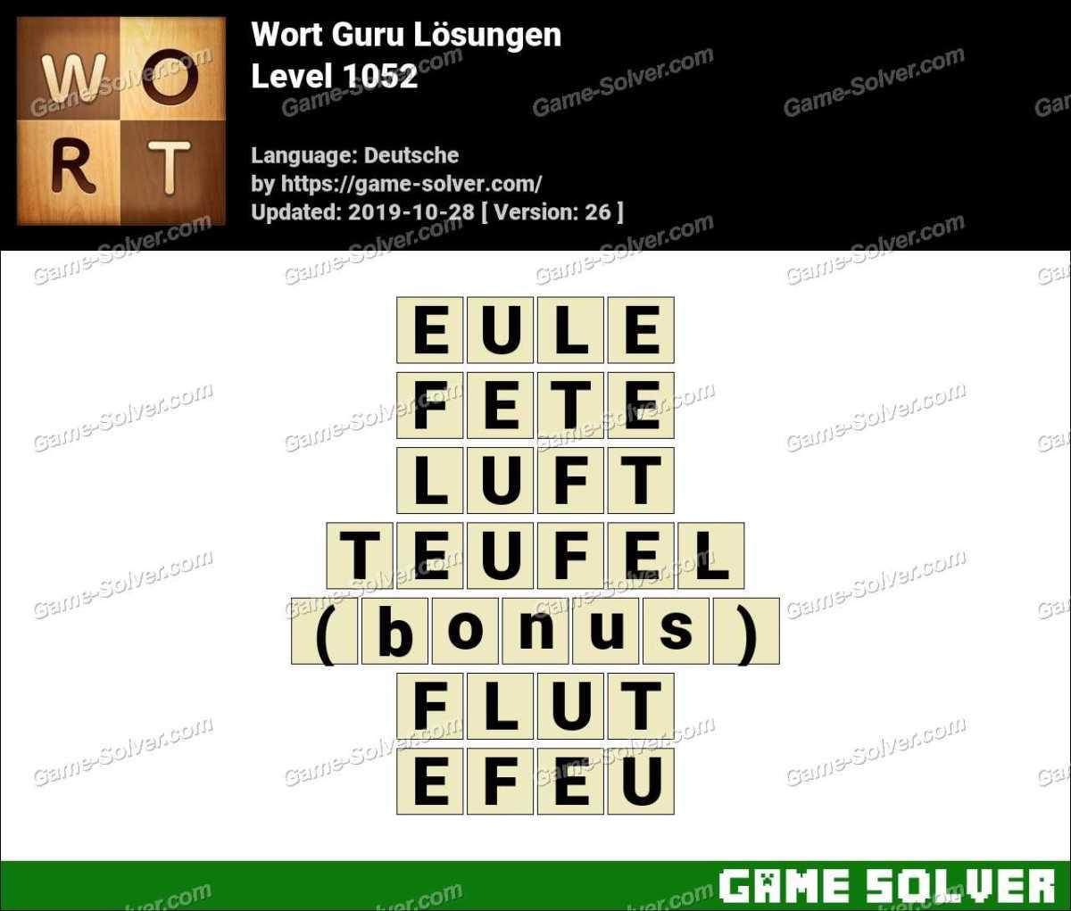 Wort Guru Level 1052 Lösungen