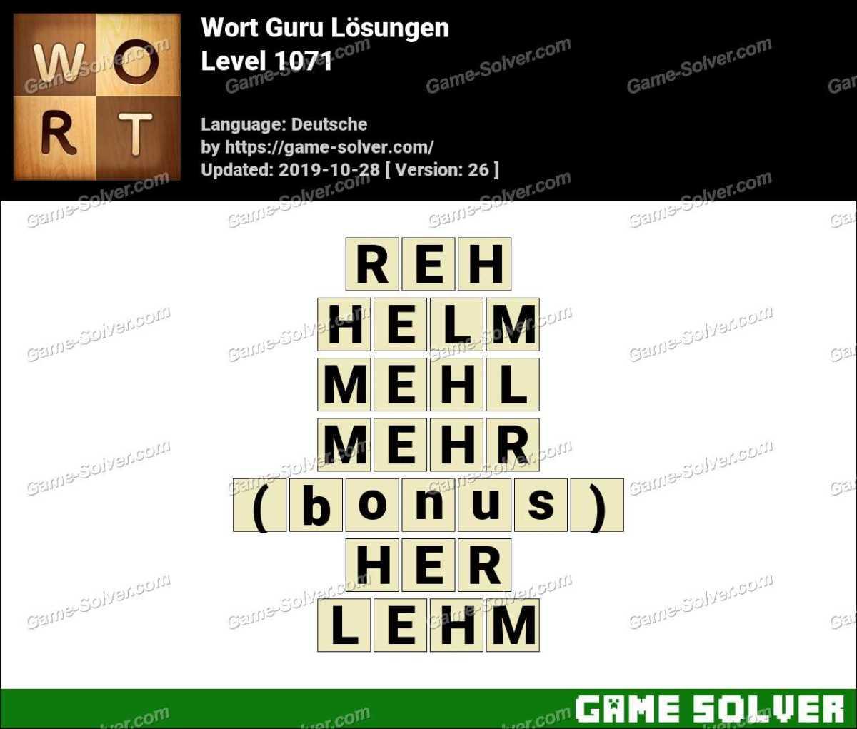 Wort Guru Level 1071 Lösungen