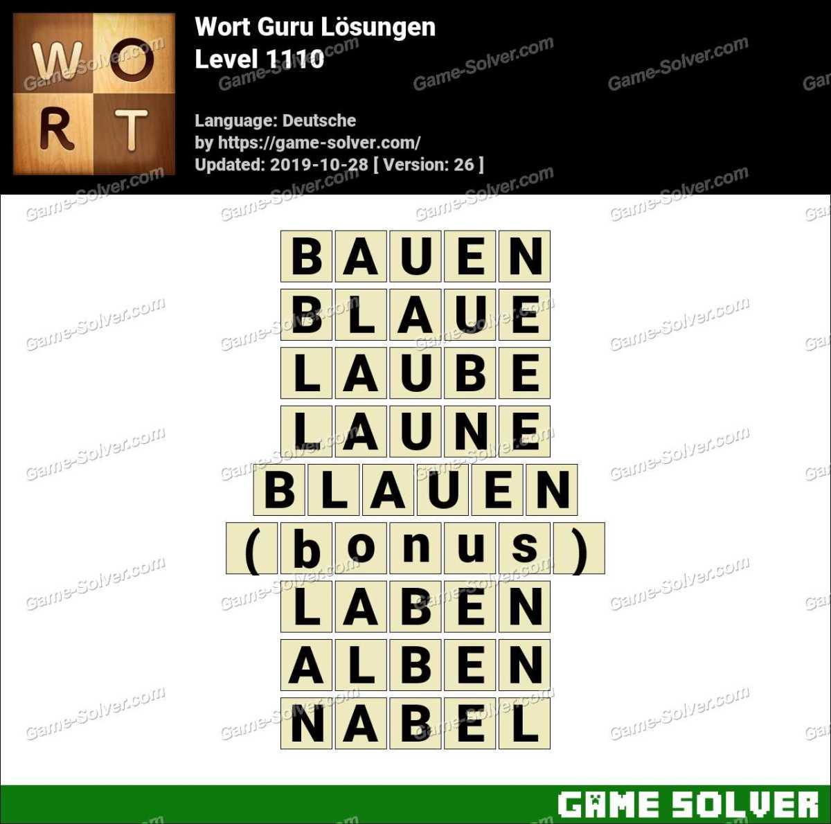 Wort Guru Level 1110 Lösungen