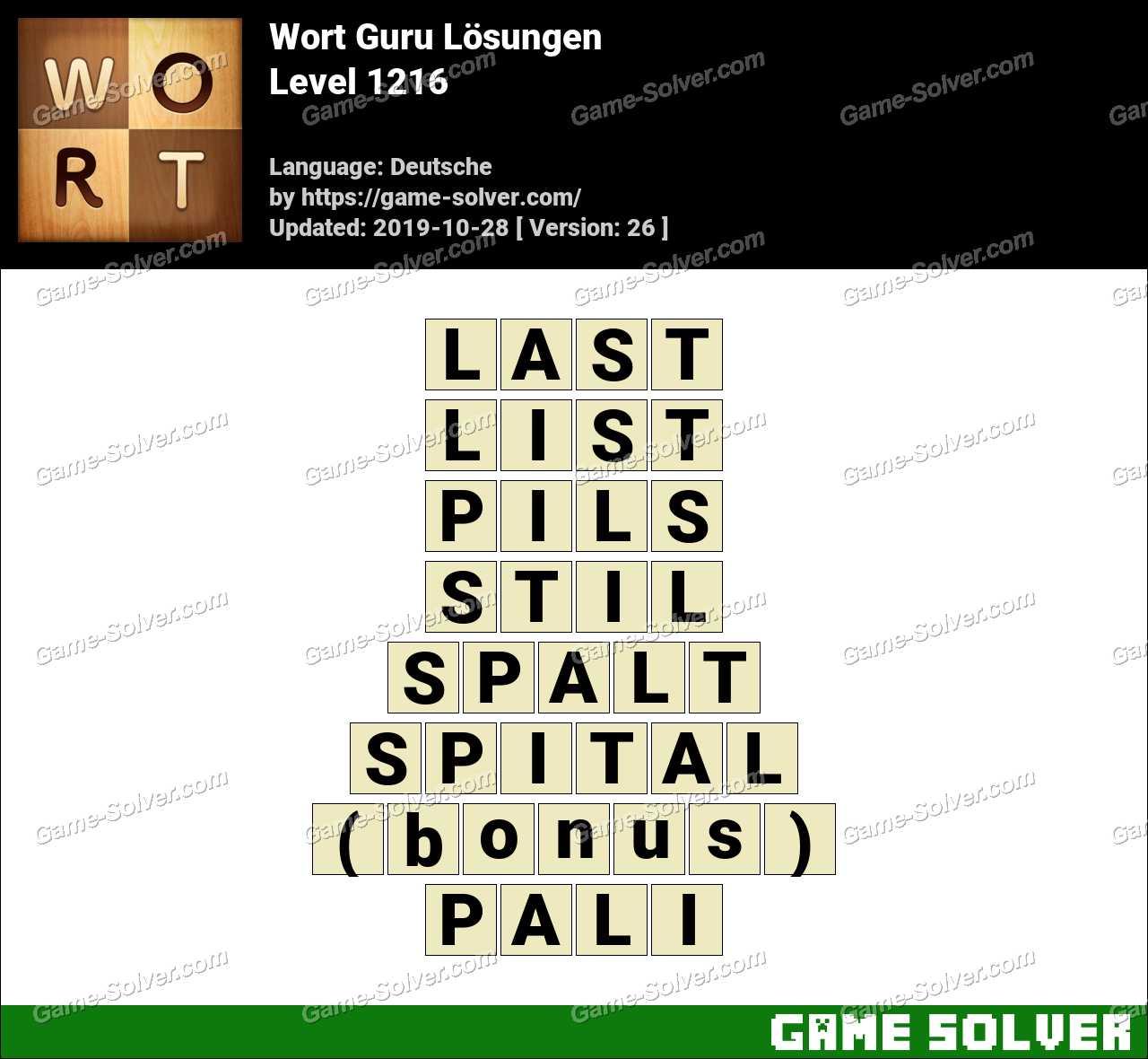 Wort Guru Level 1216 Lösungen