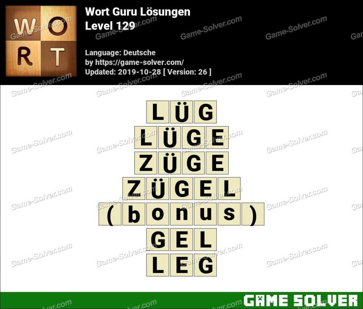 Wort Guru Level 129 Lösungen