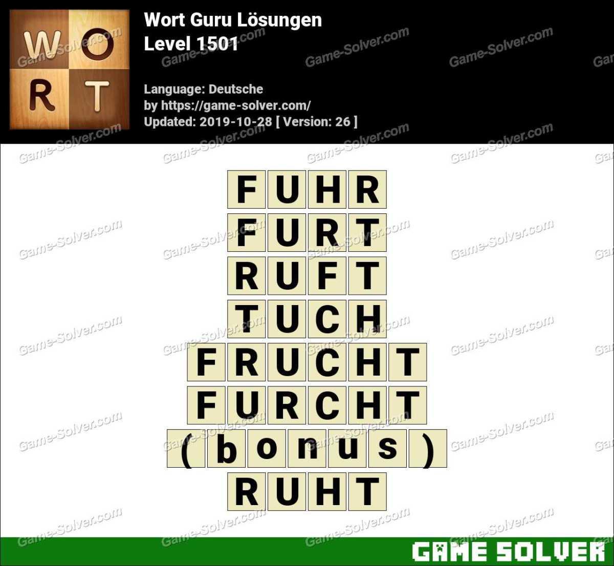 Wort Guru Level 1501 Lösungen