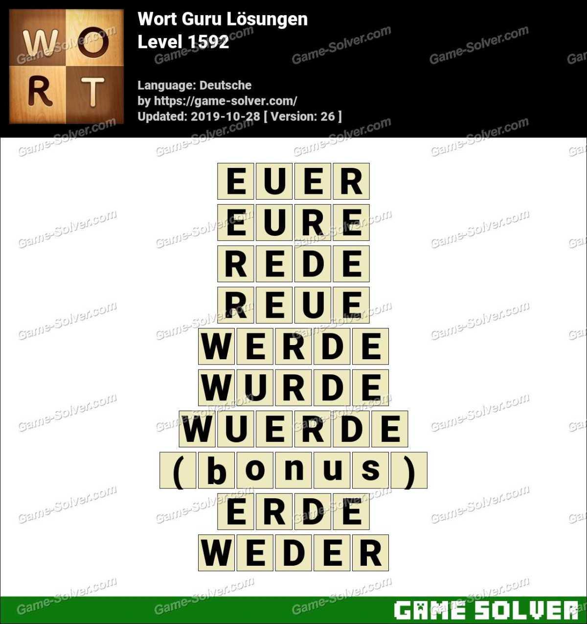 Wort Guru Level 1592 Lösungen