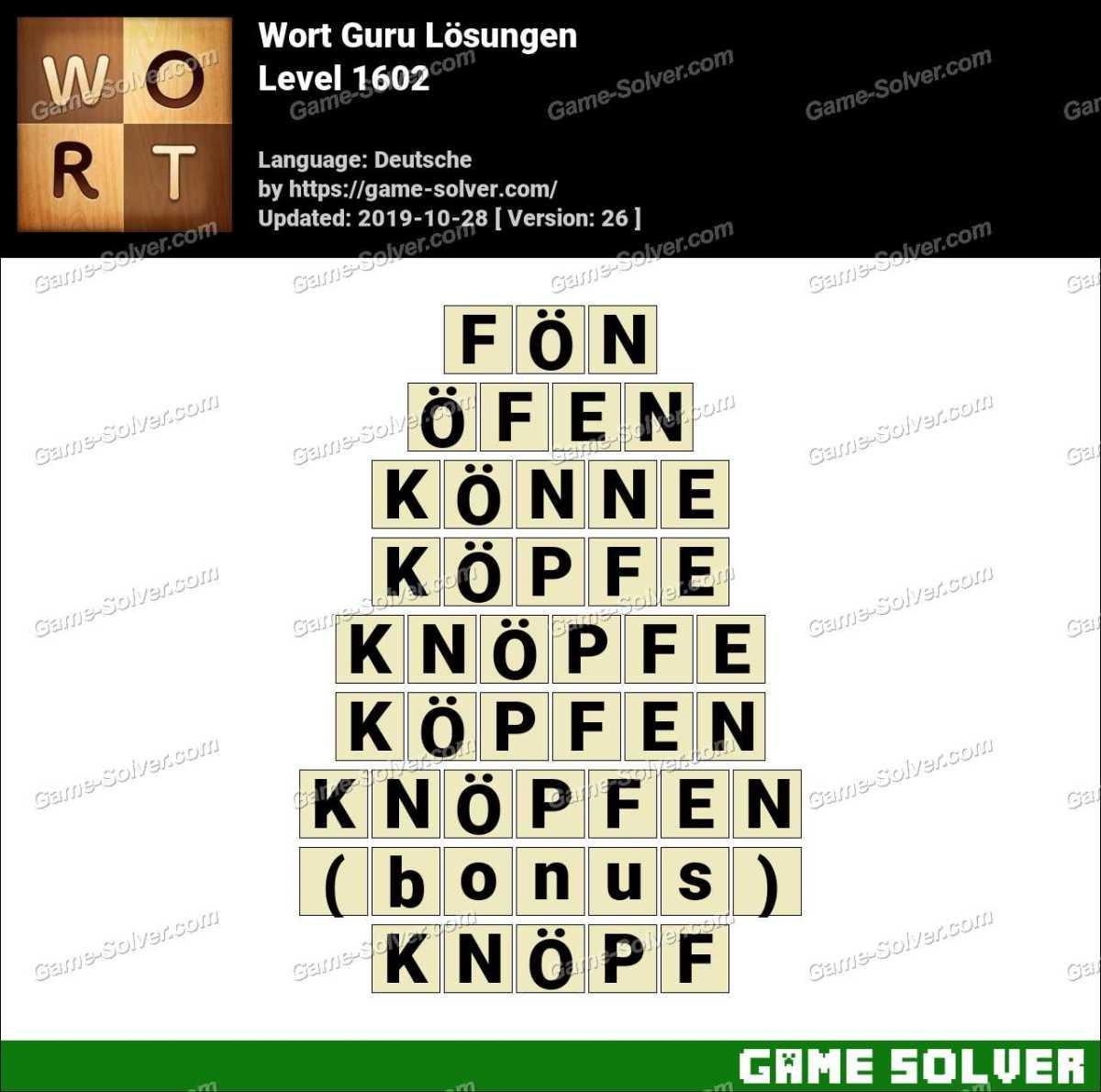 Wort Guru Level 1602 Lösungen