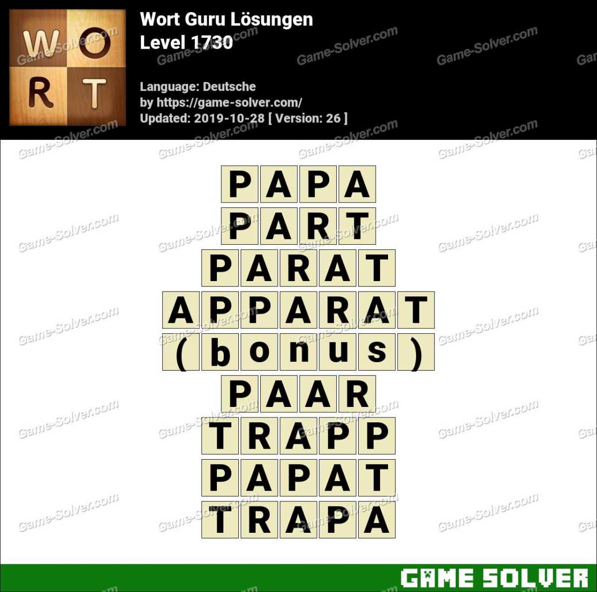 Wort Guru Level 1730 Lösungen