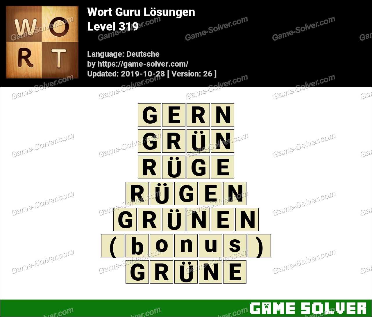 Wort Guru Level 319 Lösungen