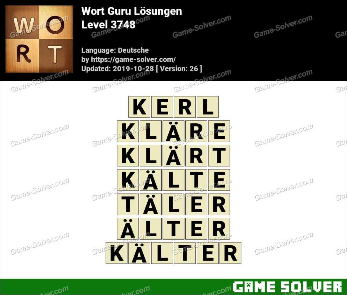 Wort Guru Level 3748 Lösungen