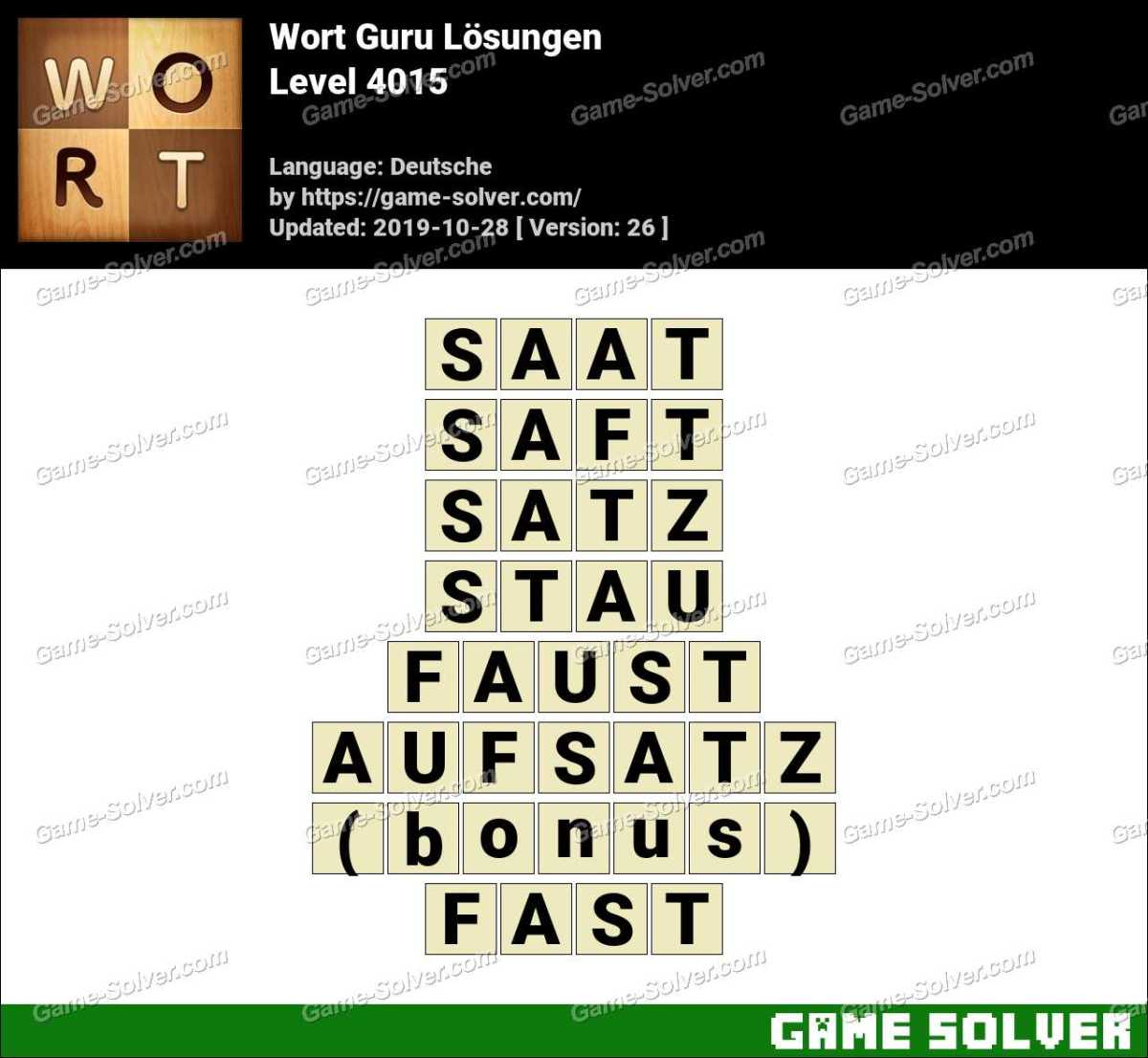 Wort Guru Level 4015 Lösungen