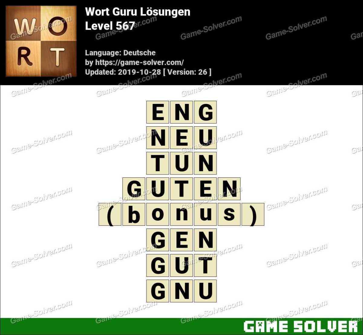 Wort Guru Level 567 Lösungen