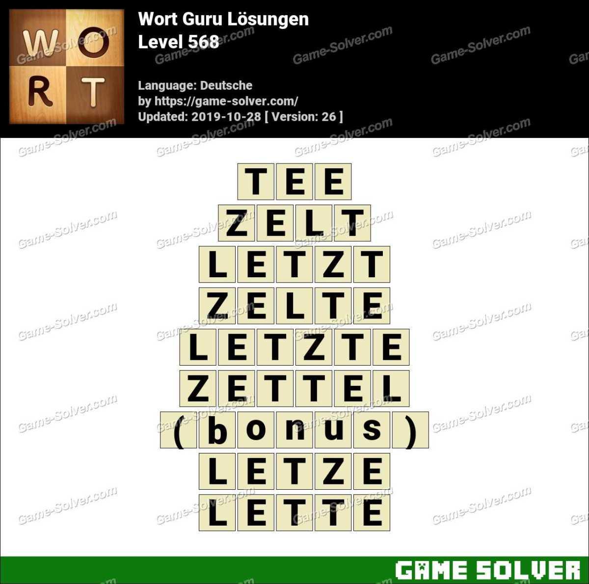 Wort Guru Level 568 Lösungen
