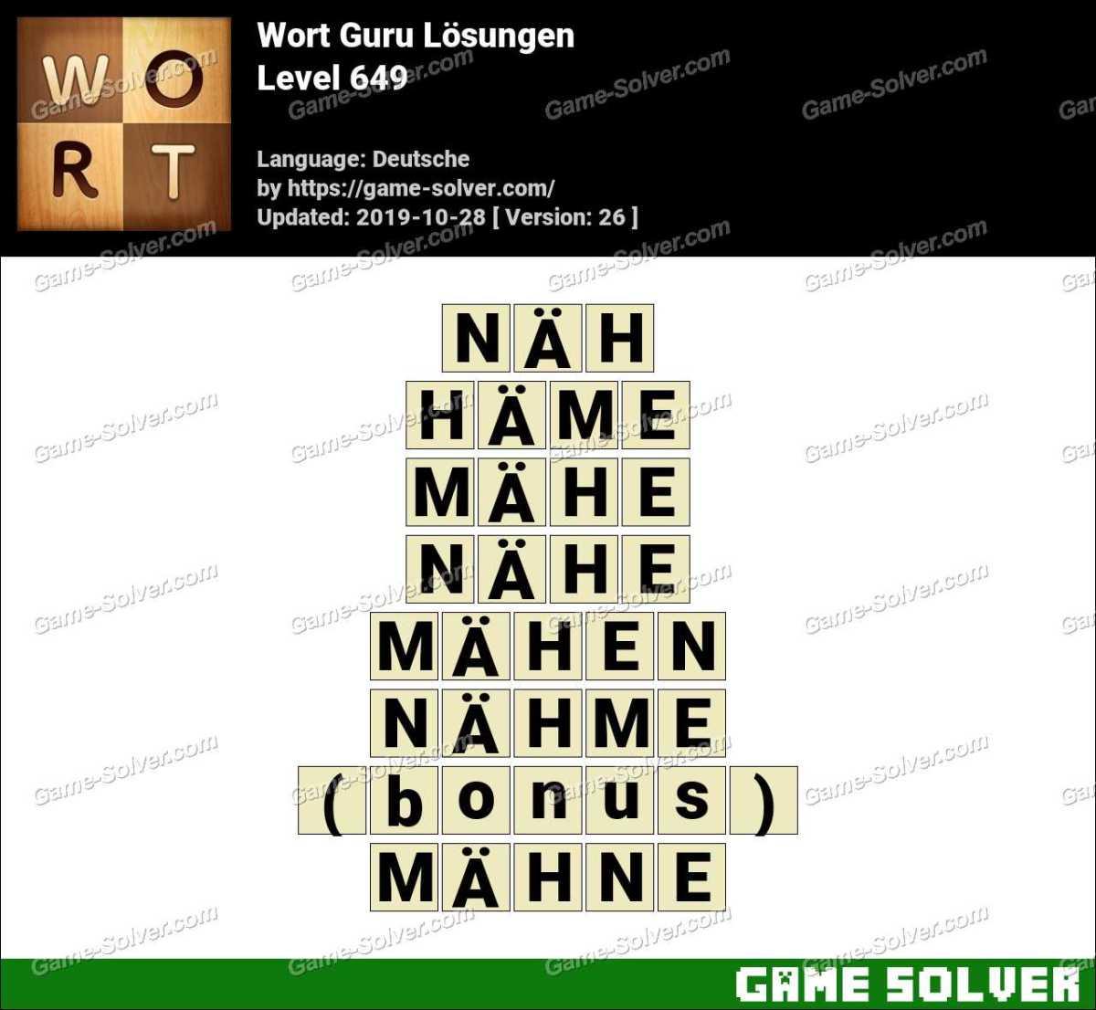 Wort Guru Level 649 Lösungen