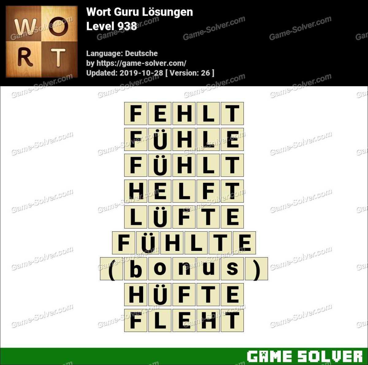 Wort Guru Level 938 Lösungen