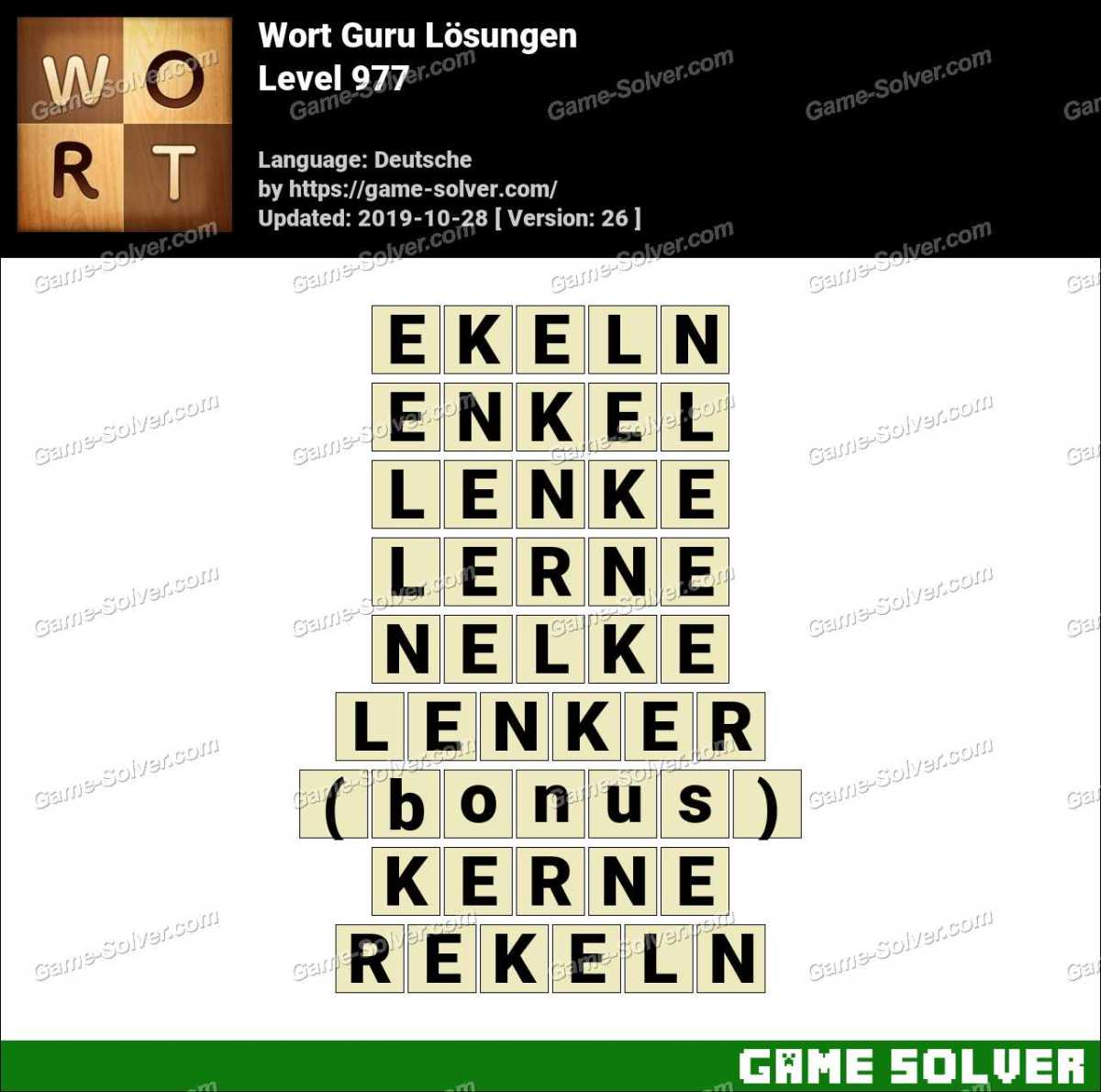 Wort Guru Level 977 Lösungen