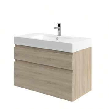 meuble de salle de bain monta avec lavabo chene gris 90 cm